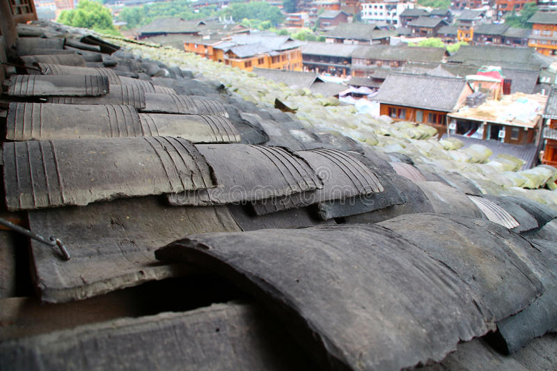 Alte Stadt des Ziegeldachs in China stockfotografie