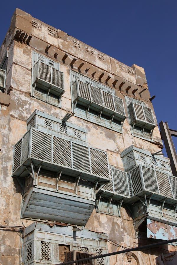 Alte Stadt in Dschidda, Saudi-Arabien bekannt als ` historisches Dschidda-` Alte und Erbgebäude und -straßen in Dschidda Schattie lizenzfreie stockbilder