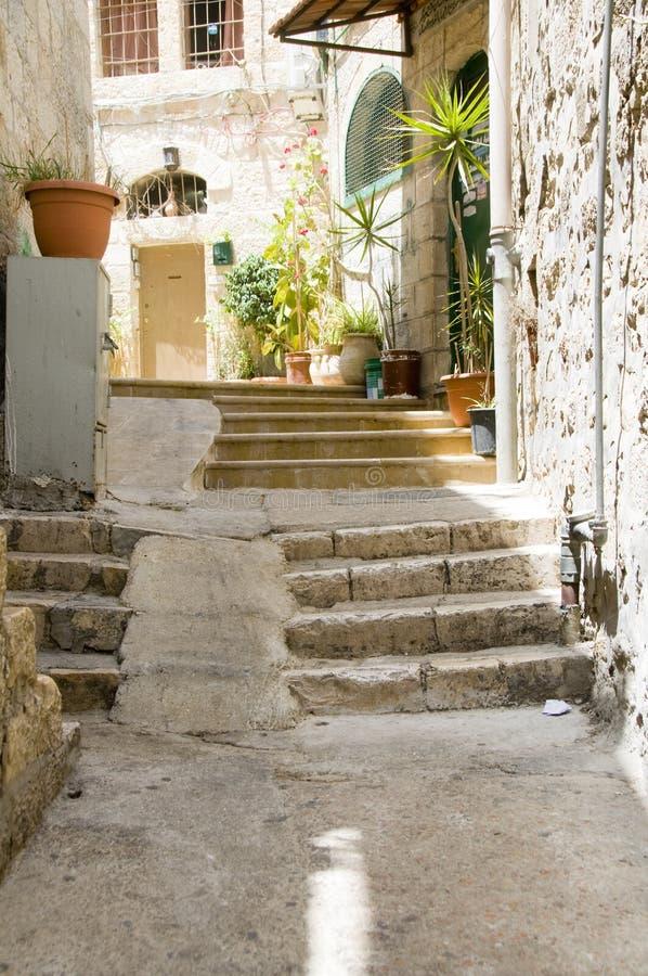 Alte Stadt Jerusalem Palästina Israel der alten Jobstepps stockfotos
