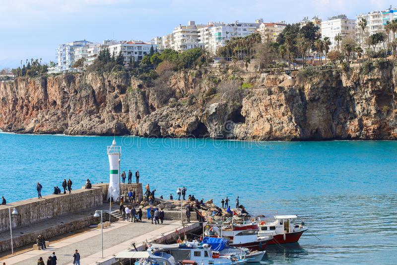 alte Stadt Kaleici des neuen Fotos 2019 in Antalya, die Türkei stockbilder