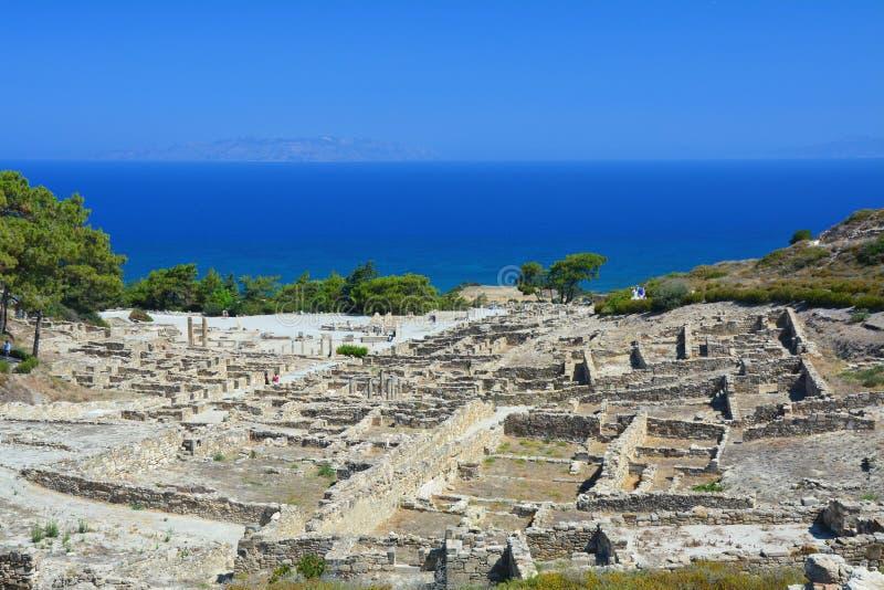 Alte Stadt Kamiros auf Rhodos-Insel stockfotos