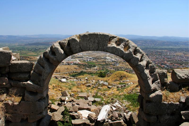 Alte Stadt Pergamons in Izmir, die Türkei lizenzfreies stockbild