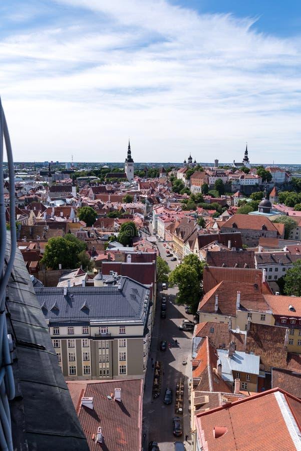 Alte Stadt Tallinns gesehen vom Oleviste-Kirchturm lizenzfreies stockfoto