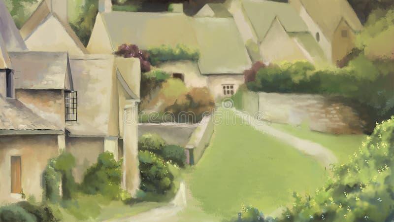 Alte Stadt und Haus mit Naturlandschaftsmalereiillustration Ansicht von kleiner Stadt Schöne Dorfansicht von Gebäuden lizenzfreie abbildung
