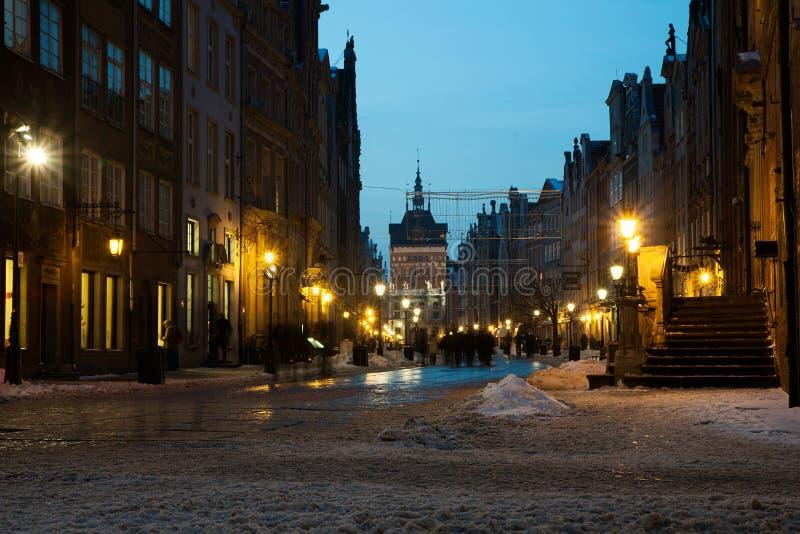 Alte Stadt von Gdansk in der Winterlandschaft lizenzfreie stockfotografie