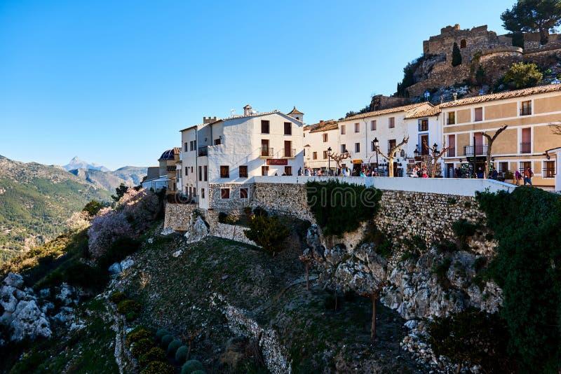 Alte Stadt von Guadalest Spanien lizenzfreies stockbild