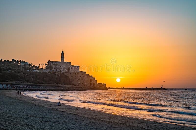 Alte Stadt von Jaffa auf Sonnenuntergang stockbild
