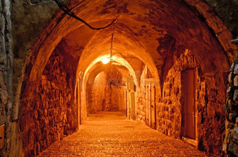 Alte Stadt von Jerusalem nachts stockfotografie