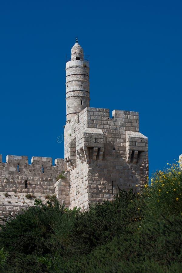 Alte Stadt von Jeruslaem, David-Kontrollturm lizenzfreie stockbilder
