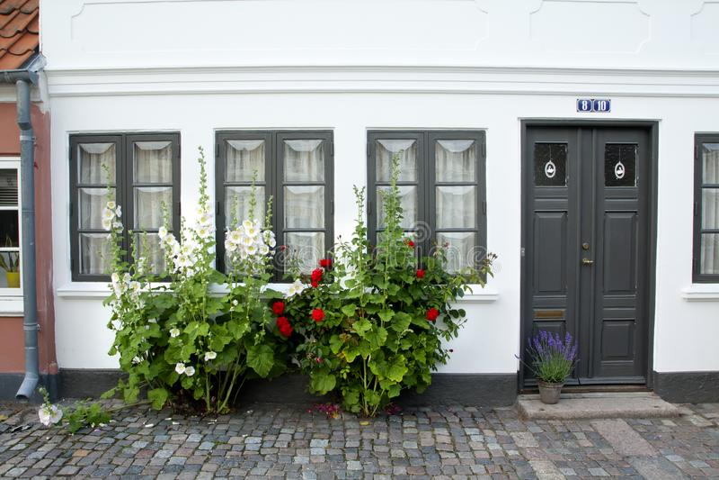 Alte Stadt von Odense, Dänemark stockbild