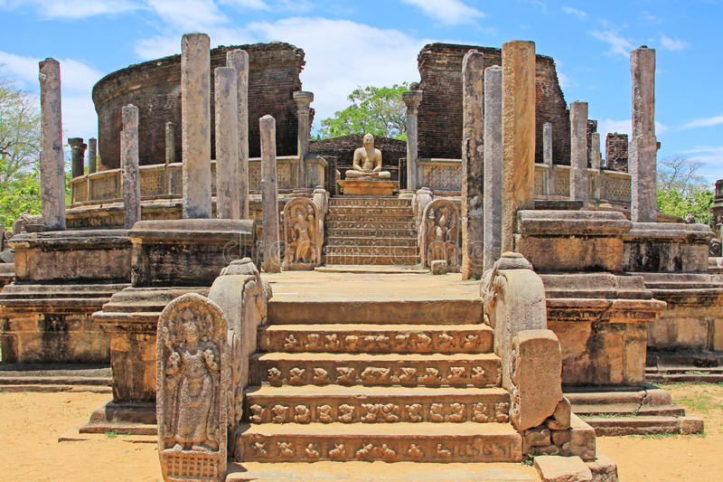 Alte Stadt von Polonnaruwa-` s Vatadage - Sri Lanka UNESCO-Welterbe lizenzfreies stockfoto