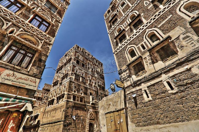 Alte Stadt von Sana'a in HDR stockfotografie