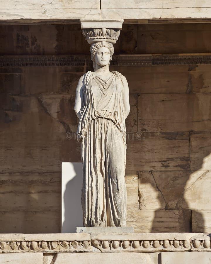 Alte Statue der Karyatide, erechteion Tempel, Athen lizenzfreies stockbild