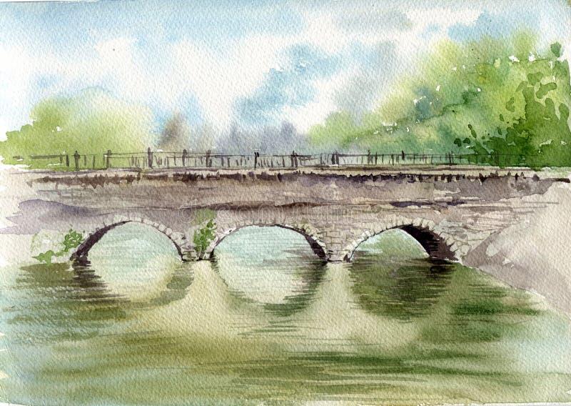 Alte Steinbogenbrücke lizenzfreie abbildung