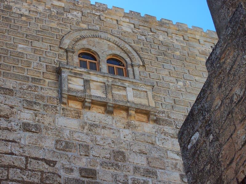 Alte Steinmetzarbeit, Kirche der Geburt Christi, Bethlehem stockbild