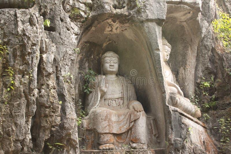 Alte Steinstatue von Buddha, Provinz Xian, Shaanxi, China lizenzfreies stockfoto