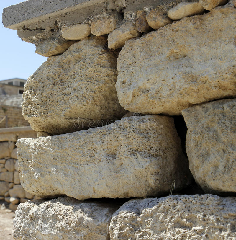 Alte Steinwand Knossos-Palastruinen Heraklion, Kreta, Griechenland stockfotografie
