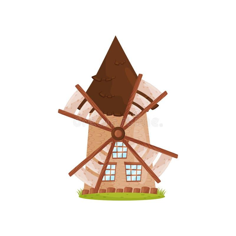 Alte Steinwindmühle mit hölzernen Segeln und großen Fenstern Landwirtschaftlicher Bau Bauernhofthema Karikaturvektordesign lizenzfreie abbildung