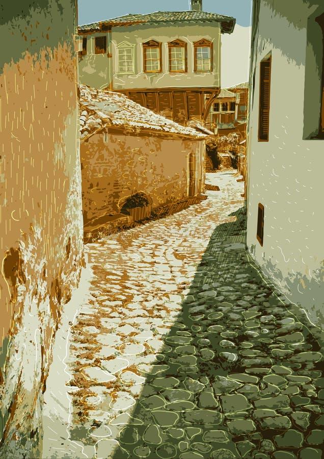 Alte Straße mit den Pflastersteinen teuer stock abbildung