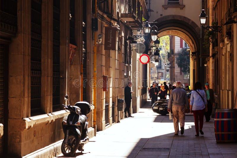 Alte Straße von Barrio Gotico. Barcelona lizenzfreies stockfoto
