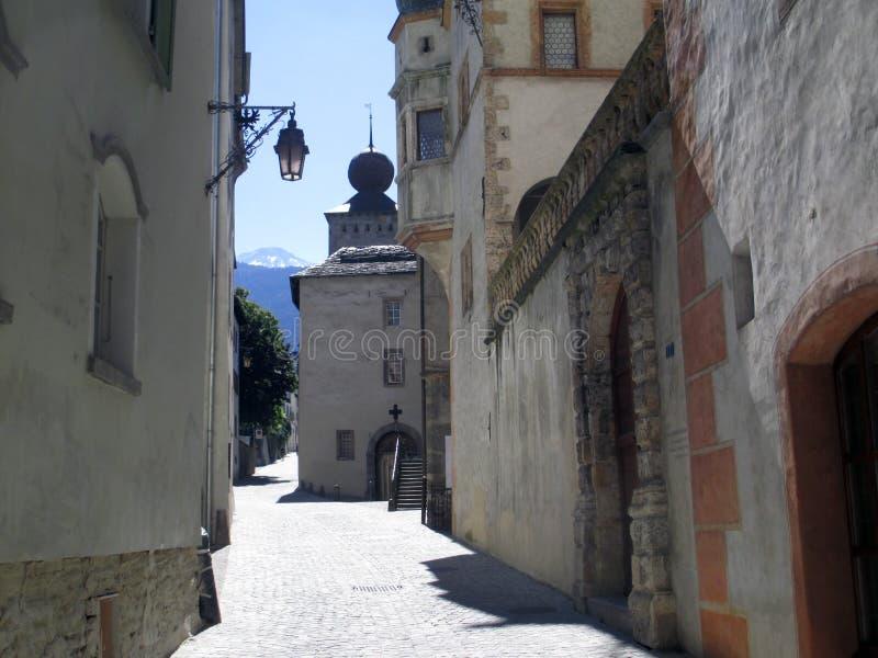 Alte Straßen in der Stadt Brig lizenzfreies stockbild