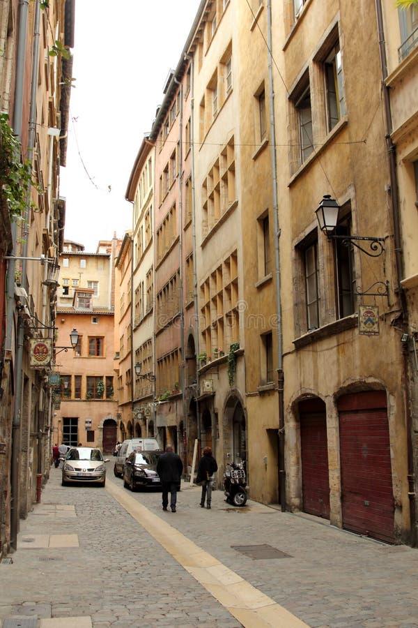 Alte Straßen in Lyon, Frankreich stockbilder