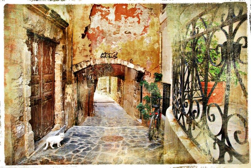 Alte Straßen von Griechenland, Kreta, Chania lizenzfreie stockfotos