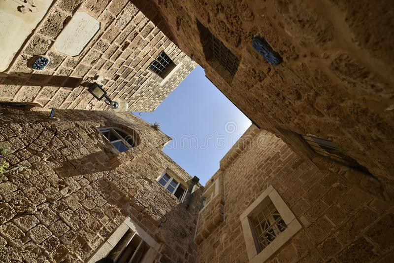 Alte alte Stra?e und H?user in Jaffa-Stadt, nahe Tel Aviv, Israel stockfotografie