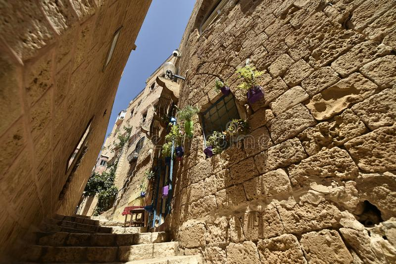 Alte alte Stra?e und H?user in Jaffa-Stadt, nahe Tel Aviv, Israel lizenzfreies stockbild