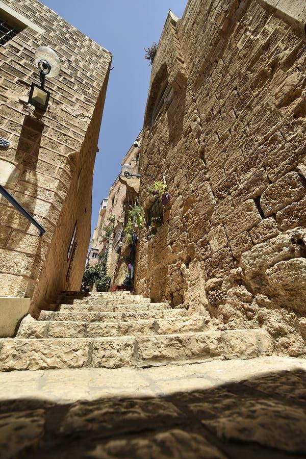 Alte alte Stra?e und H?user in Jaffa-Stadt, nahe Tel Aviv, Israel stockbild