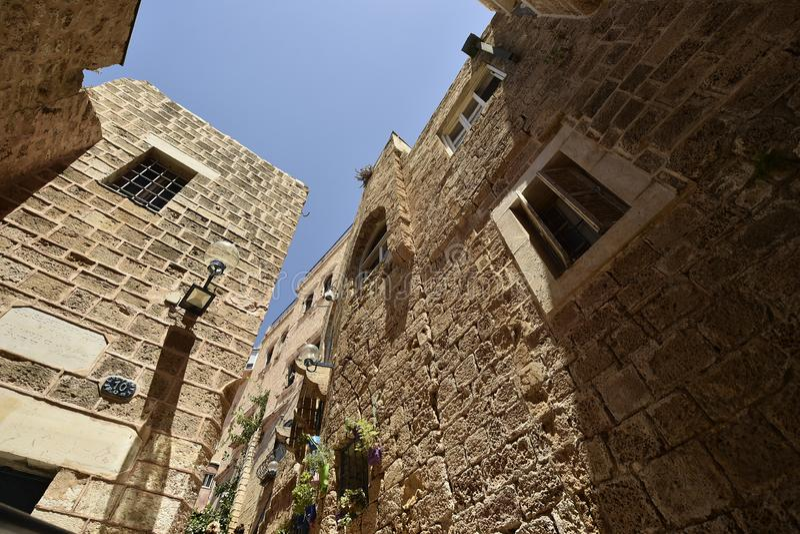 Alte alte Stra?e und H?user in Jaffa-Stadt, nahe Tel Aviv, Israel lizenzfreies stockfoto