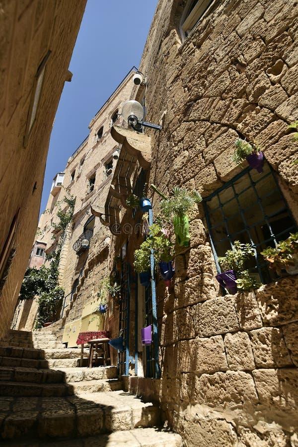 Alte alte Stra?e und H?user in Jaffa-Stadt, nahe Tel Aviv, Israel stockbilder