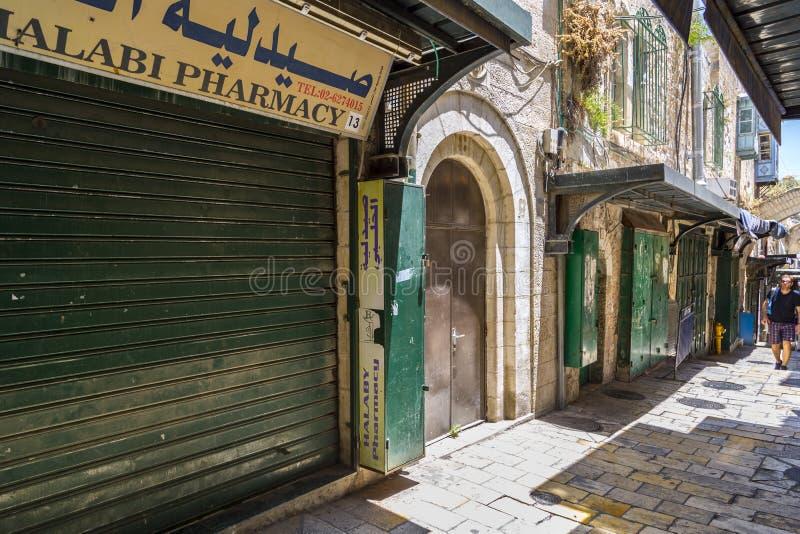 Alte Straßen und Gebäude in der alten Stadt von Jerusalem lizenzfreie stockfotografie