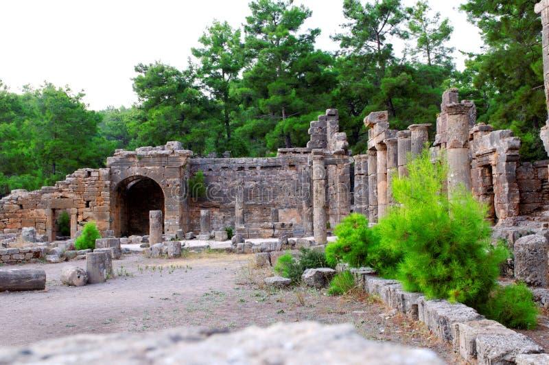 Alte türkische ruinierte Stadt stockbild