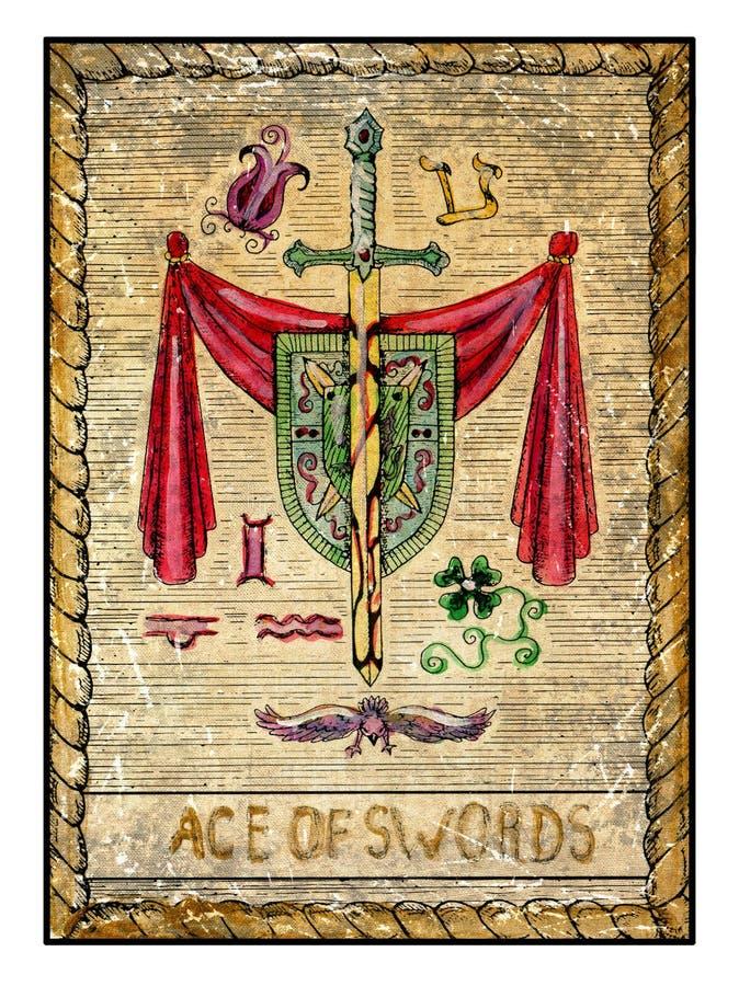 Alte Tarockkarten Volle Plattform Ace von Klingen stock abbildung