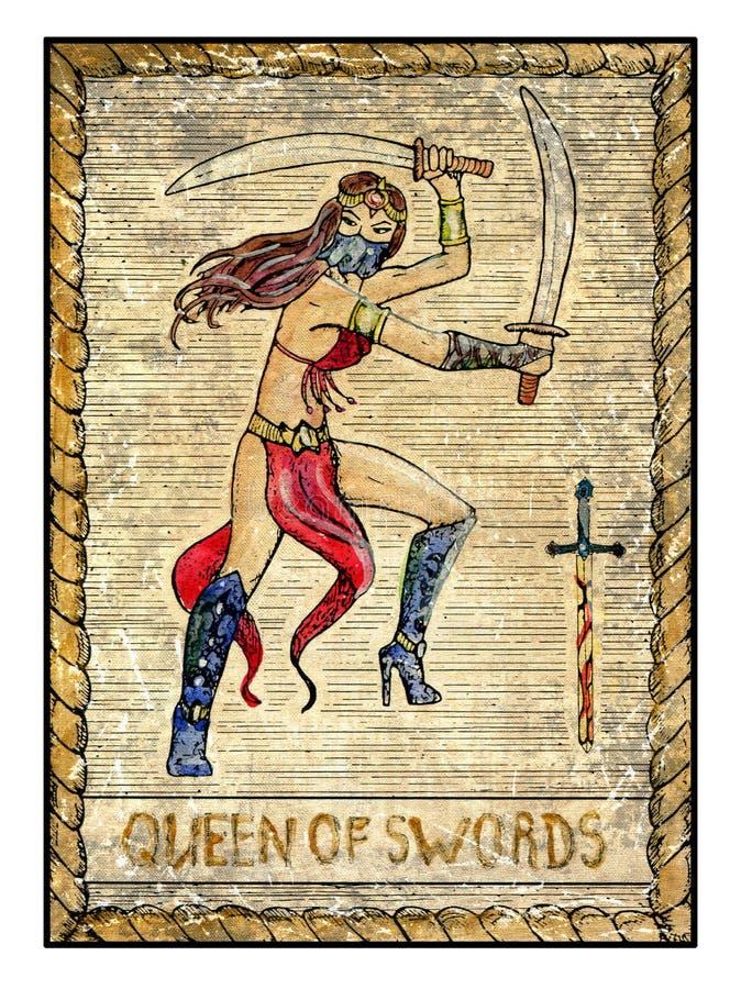Alte Tarockkarten Volle Plattform Königin von Klingen stock abbildung