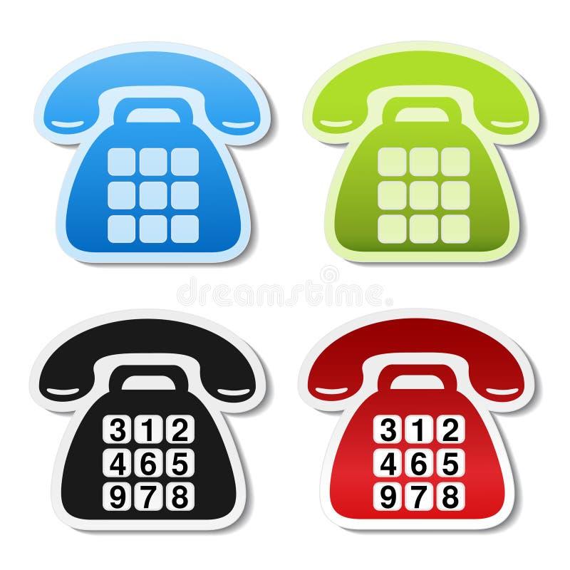 Alte Telefonsymbole auf weißem Hintergrund Treten Sie mit Aufkleber in der blauen, grünen, schwarzen und roten Farbe in Verbindun lizenzfreie abbildung