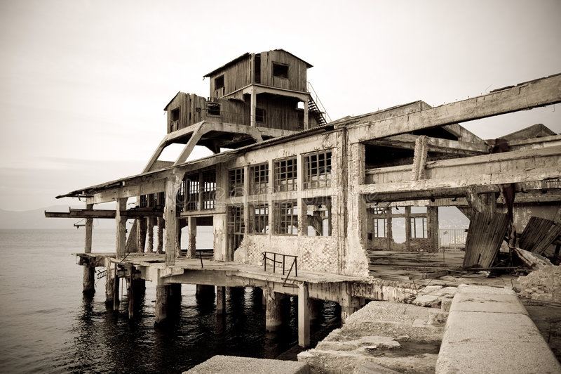Alte Torpedofabrik stockbild