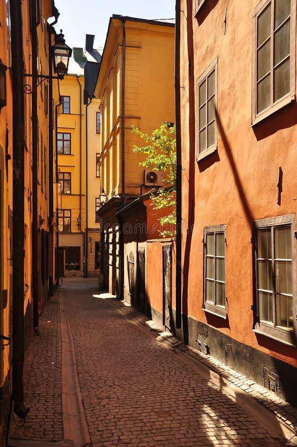 Alte towm Stockholms Gasse, Schweden. lizenzfreie stockfotos