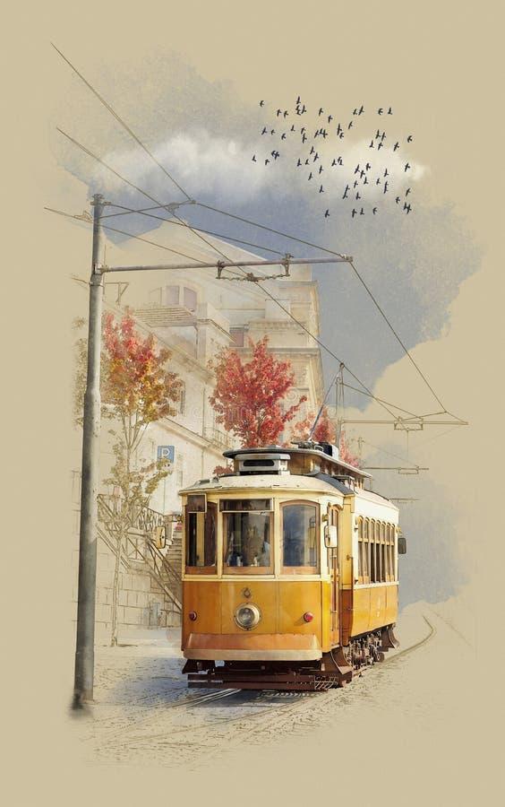 Alte Tram im historischen Stadtteil portugal Aquarell-Skizze lizenzfreie stockfotos