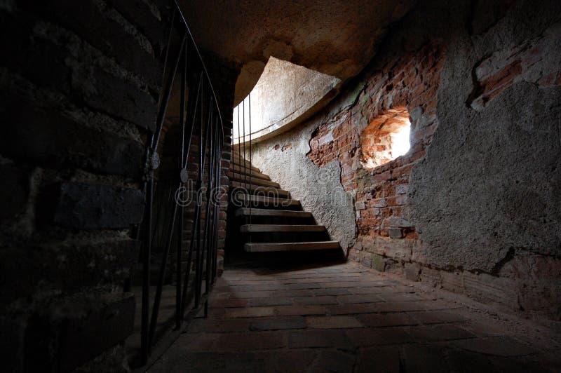 Alte Treppen im Schlosskontrollturm lizenzfreie stockbilder