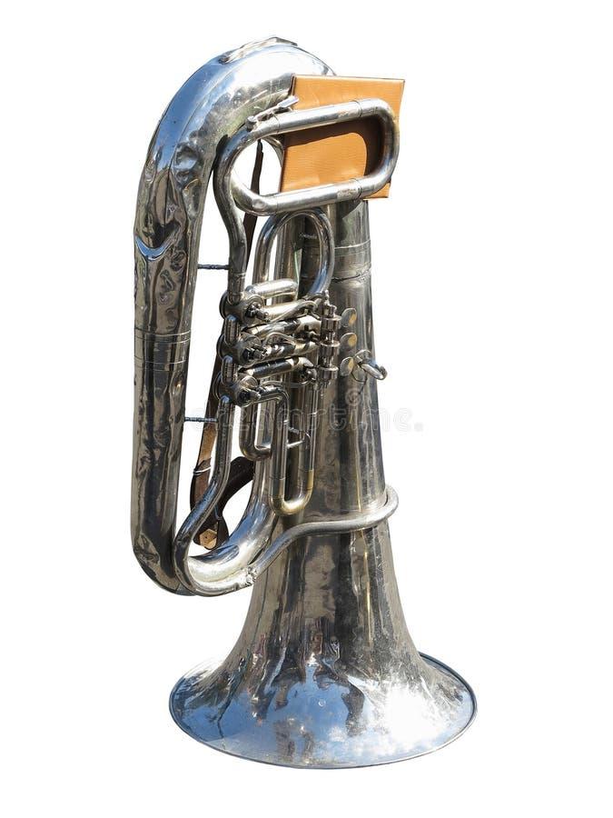 Alte Tuba der Weinlese mit den Anmerkungen lokalisiert auf weißem Hintergrund lizenzfreie stockbilder