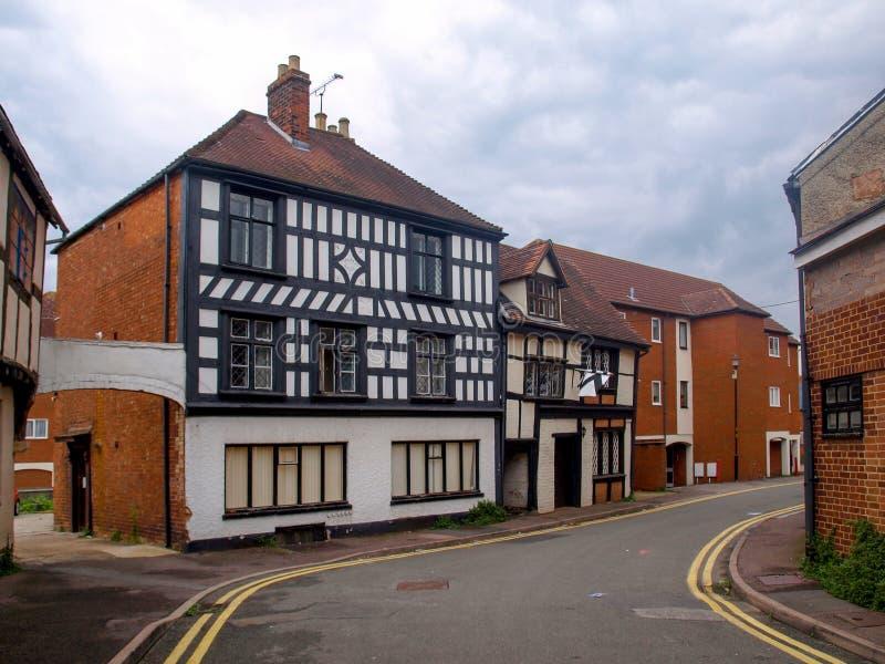 Alte tudor Häuser in Tewkesbury stockfotografie