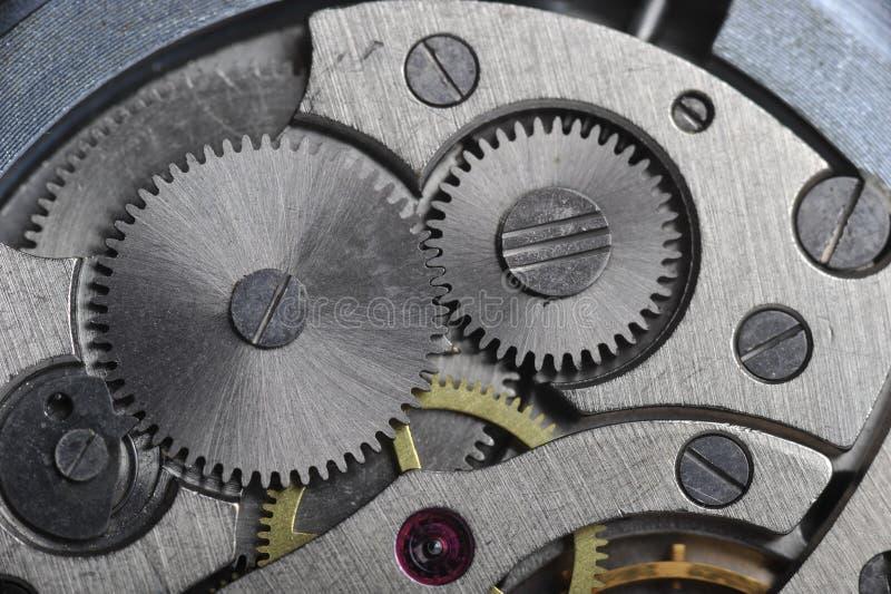 Alte Uhrgänge schließen oben stockfotografie