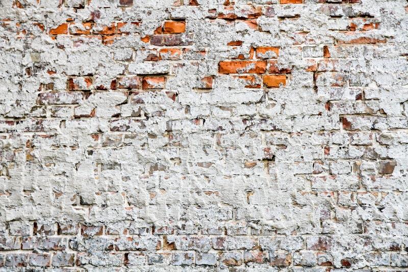 Alte und verwitterte grungy Wand des roten Backsteins teils gemalt mit weißer Schalenfarbe und durch alten Zement als Beschaffenh stockbild