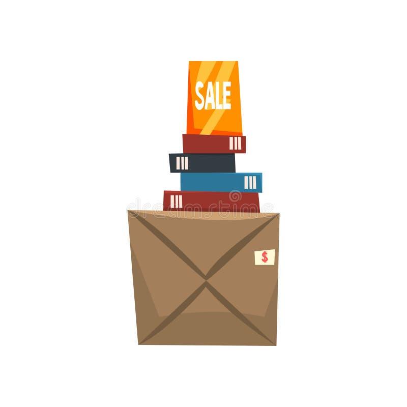 Alte unnötige Sachen, Bücher und Kasten mit altem Material, Ramschverkauf-Vektor Illustration auf einem weißen Hintergrund lizenzfreie abbildung