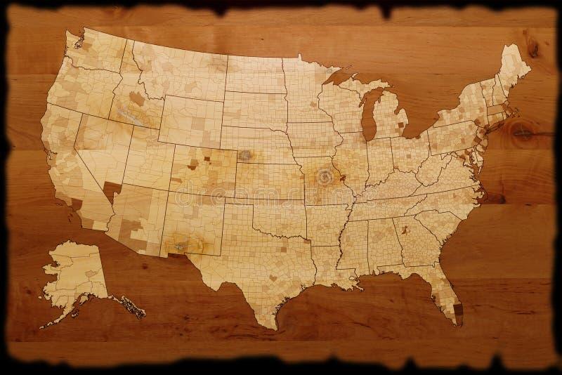 Alte USA-Karte lizenzfreie abbildung