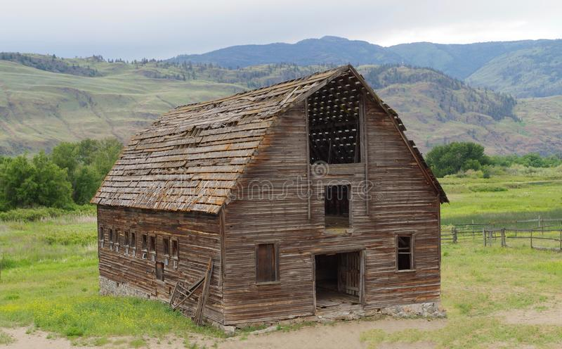 Alte verlassene Scheune, Okanagan-Tal, Britisch-Columbia, Kanada stockfotos