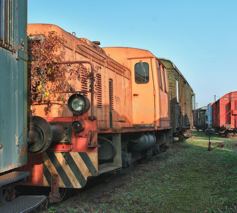 Alte verlassene Züge am Depot am sonnigen Tag lizenzfreie stockfotos