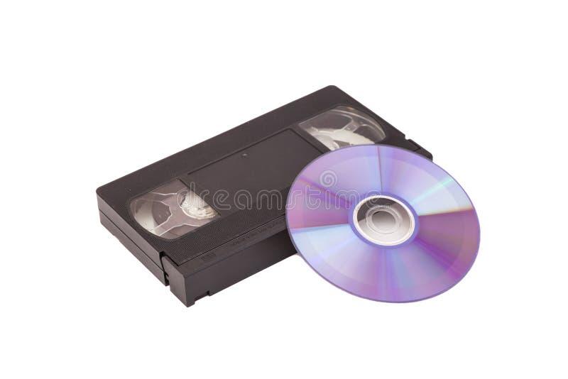 Alte Videokassetten mit DVD-Diskette lizenzfreie stockfotografie